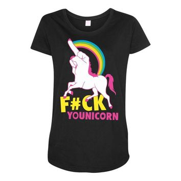 gay pride f#ck younicorn funny rude unicorn Maternity Scoop Neck T-shirt