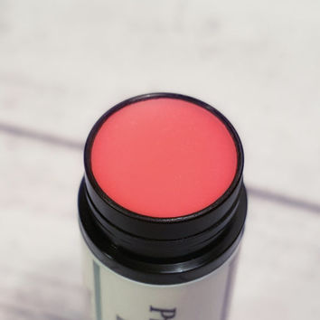 Natural Pink Chapstick, Tinted Lip Balm in Prissy Pink Shimmer Flavored with Mint flavor