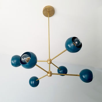 Loa-Annunciation Chandelier: 6-light mid century modern style chandelier