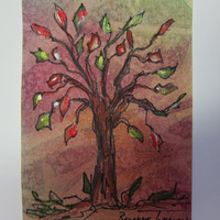 Fall Tree, Original Watercolor ACEO 322 Autumn, colored leaves OOAK painting