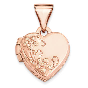 14k Rose Gold 10mm Floral Heart Locket XL655