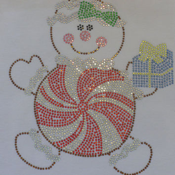 "Gingerbread Peppermint  iron on 7.5"" rhinestone TRANSFER for Christmas t shirt"