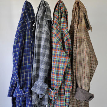 Flannel Shirts | Vintage Oversized Flannel Plaid Shirts 90's Grunge Not A Mystery Flannel! Size Large to XL Flannel