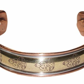 Peaceful Buddha Gift Magnetic Copper Cuff Bracelet 3 Metal Healing Grounding