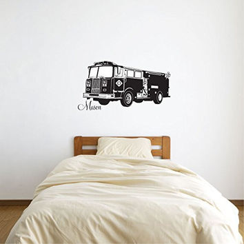Firetruck Fire Truck with Personalized Monogram Name Vinyl Wall Words Decal Sticker Graphic