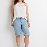 Cuffed Denim Bermuda Shorts
