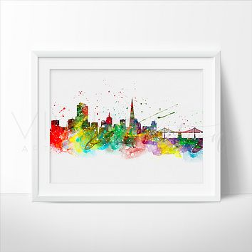 San Francisco Skyline 2.0 Watercolor Art Print