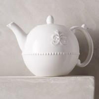 Fleur De Lys Teapot by Anthropologie in White Size: Teapot Serveware