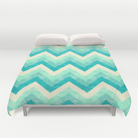 Chevron - Mint Duvet Cover by Jacqueline Maldonado