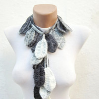 Crochet Lariat Scarf Black Grey White Variegated Long Necklace