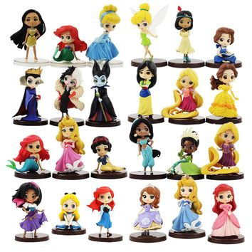 24pcs/lot Q Posket Figure Toy Princess Ariel Mermaid Snow White Tangled Rapunzel Belle Sofia Mulan Moana Beauty Model Dolls