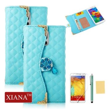 Galaxy Note 3 Case Gold Edge Design(Green), XIANA Luxury Bling Plum Crystal Pendant Premium PU Leather Handbag Wallet Case Cover Suitable For Samsung Galaxy Note 3 N9000, with Stylus, Screen Protector and Cleaning Cloth