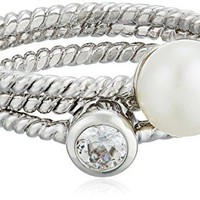 Freshwater Stackable Ring Bella Pearl 3 Sterling Silver  Stackable Pearl Rings