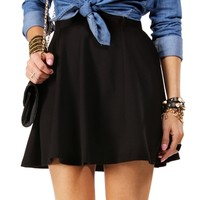 SALE-Black Basic Skater Skirt
