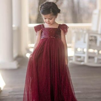 Skylar Sparkle Gown Dress Angel Sleeve Wine Sequins & Tulle