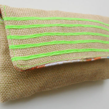 Zippered Diaper Clutch in Neon Stripe Pattern and Burlap