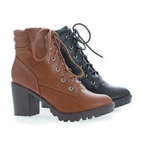 Ranger21 Round Toe Lace Up Padded Collar Lug Sole Ankle Combat Boots