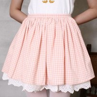 Japan Gyaru Cutie Kawaii Baby Dolly Princess Tea Party Pink Blue Checker Skirt