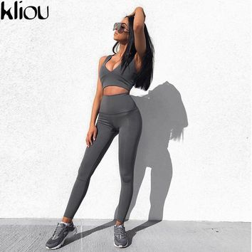 Kliou 2018 Women's Fashion Tracksuit Solid Tops Leggings Two Piece Set Fitness Clothing Sporting Suits Crop Top Skinny Pants Set