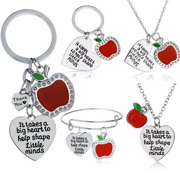 Apple Love Heart Charm Teachers Necklace Thank You Teacher Keychain Gift It Takes A Big Heart To Help Shape Little Minds Bangles