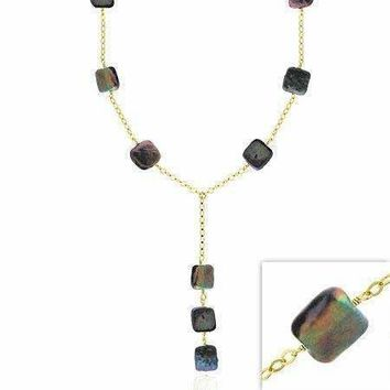 18K Gold/Sterling Silver Black Square Pearl Coin Necklace