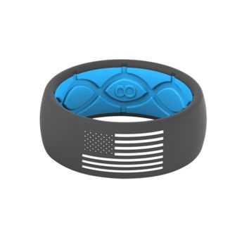 GROOVE AMERICA SILICONE RING - BLUE / STONE GREY WITH WHITE FLAG