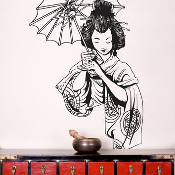 Vinyl Wall Decal Sticker Japanese Geisha #295