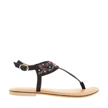 London Rebel Beaded Detail Flat Sandal
