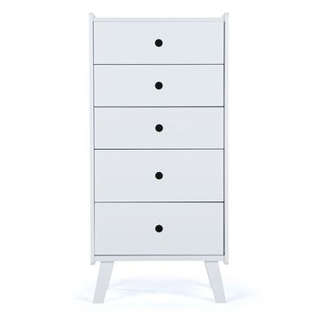 White Tall Chest With 5 Drawers For Bedroom