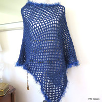 Blue Fishnet Poncho, Denim Blue Asymmetric Poncho with Fur Trim, Gift for Her