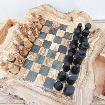 Olive Wood Unique Rustic Chess Game With Drawers / Wooden Chess Board Set / Birthday Gift / Dad Gift / Boyfriend Gift