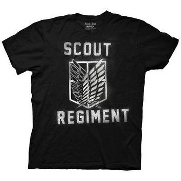 Attack On Titan Scout Regiment Spray Licensed Adult T-Shirt - Black - XL