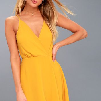 Hot Like Fire Golden Yellow Backless Dress