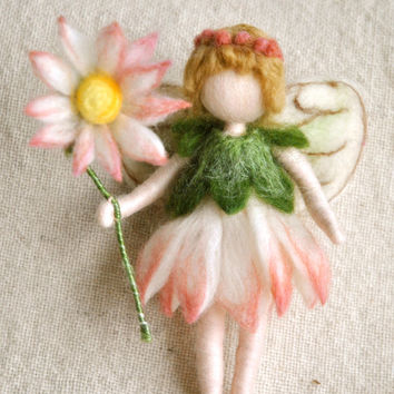 Flower Fairy Waldorf inspired needle felted doll: Daisy Fairy