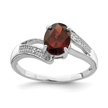 925 Sterling Silver Rhodium-plated Garnet and Diamond Ring