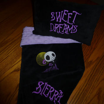 CUSTOM Jack SkeLLinGToN NiGHTMaRe Before ChRiSTmAS BABY BLANKeT MiNKY EMBROiDERED PERSONALiZED Matching PILLOW avail Designs by Sugarbear