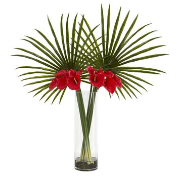Artificial Flowers -Fan Palm and Calla Lily Red Arrangement