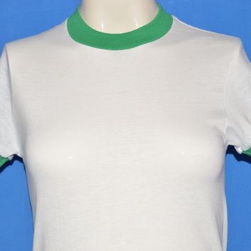 80s Blank White and Kelly Green Ringer t-shirt Youth Large