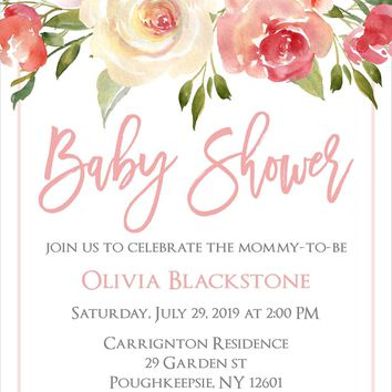 Blush Floral Baby Shower Invitations