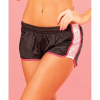 Pink Lipstick Sweat Sequin Running Short W-built In Panty & Draw String Closure Black Md