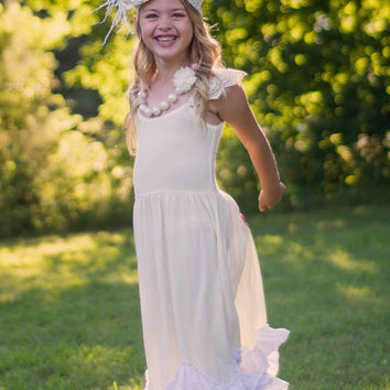 Flower girl dress, Vintage girl dress, baby dress, cream flower dress, birthday, ivory flower girl, baby dress, ruffle dress, frock dress