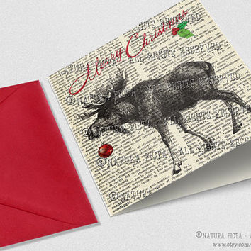 Christmas Moose Square Greeting Card with envelope-Moose card-Moose square card-Christmsa card-Funny Xmas card-Design NATURA PICTA NPSGC011