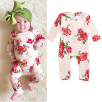 Cute Baby Girl Clothes Newborn Infant Baby Romper Flower Long Sleeve Cotton Bebes Clothing Outfit 0-24M