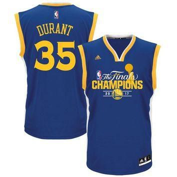 Men's Golden State Warriors Kevin Durant Royal 2017 NBA Finals Champions Road Jersey