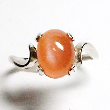 "Peach moonstone cabochon, moonstone ring, solitaire ring, peach, peach ring, s 5 1/2  ""Mango Tango"""