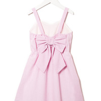 STRIPE PATTERN BACK RIBBON DETAIL DRESS GIRLS