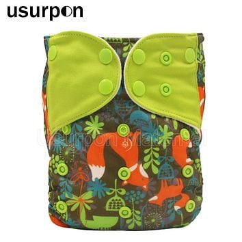 [usurpon] 1 pc printed fox pattern reusable cloth diapers babies splice colored tap one size fits waterproof baby cloth nappy