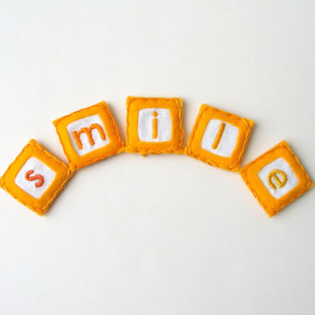 smile magnets - hand embroidered magnets, fabric magnet, alphabet letter magnet, fridge magnet, cheery yellow and cute (set of 5)