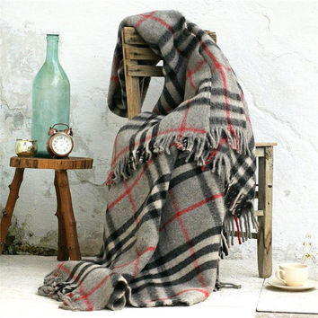 Wool throw blanket,100% Pure Wool,Gray wool blanket,Twin wool blanket,Checkered,Wool blanket,Sofa throws,Wool throw,Warm blanket,Winter