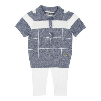 Roberta Di Roma Baby Boys' Navy Knit Sweater Set